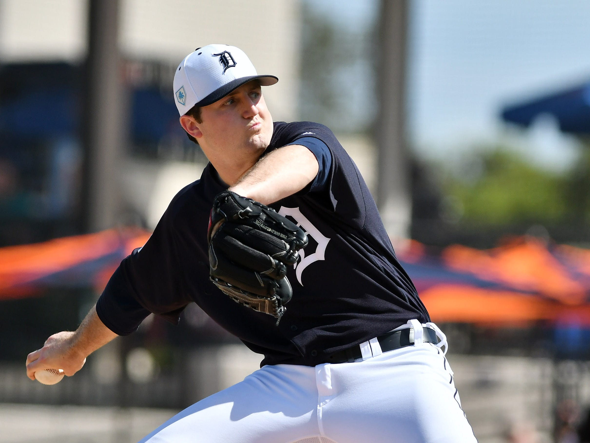 Tigers pitcher Casey Mize works in the third inning.