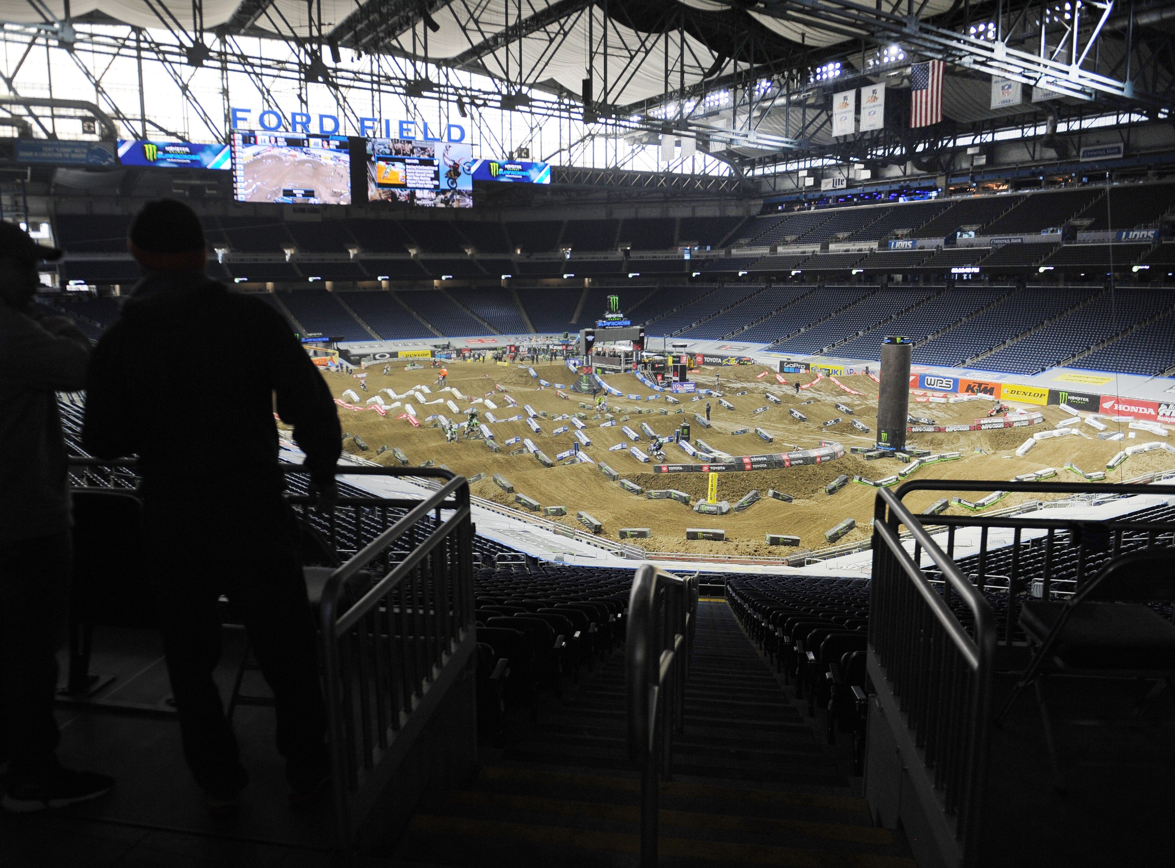 Supercross riders race down tons of dirt and ramps for the 2019 Monster Energy Supercross at Ford Field in Detroit on Friday, February 22, 2019.