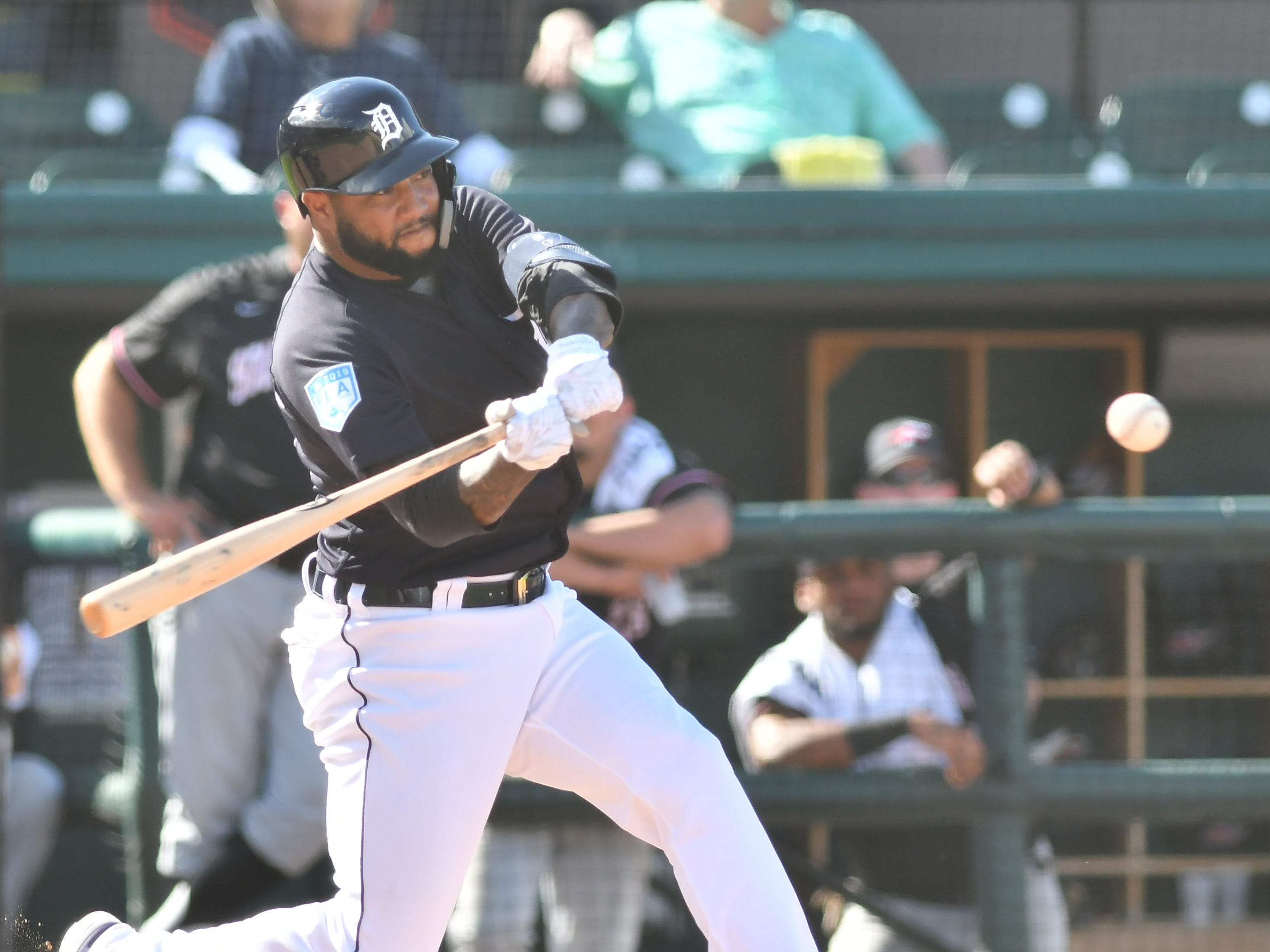 Tigers' Ronny Rodriguez doubles in the eighth inning.