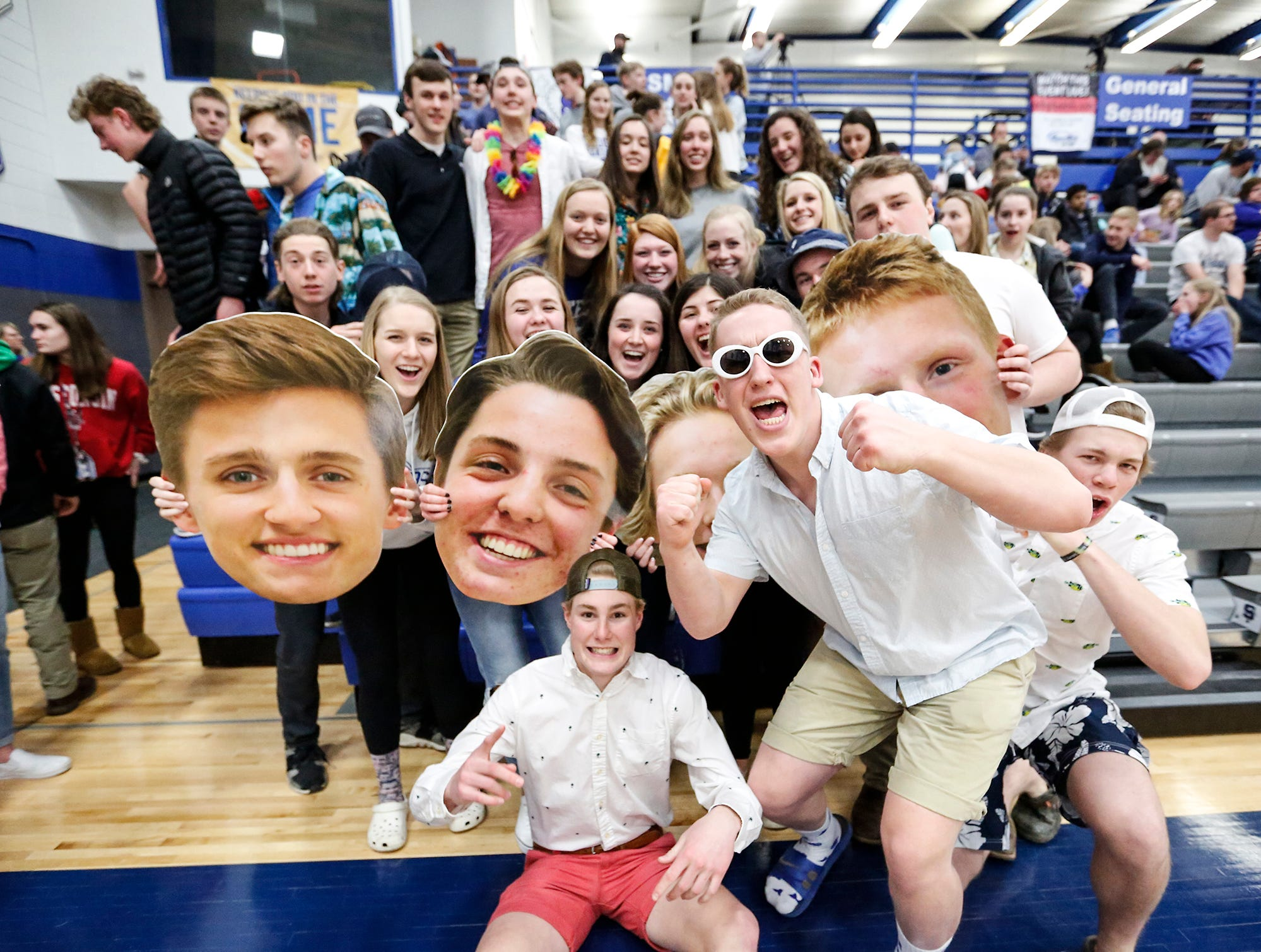 St Mary's Springs Academy boys basketball fans cheer during a game against Winnebago Lutheran Academy Thursday, February 21, 2019 in Fond du Lac, Wisconsin. Winnebago Lutheran Academy won the game 95-86. Doug Raflik/USA TODAY NETWORK-Wisconsin
