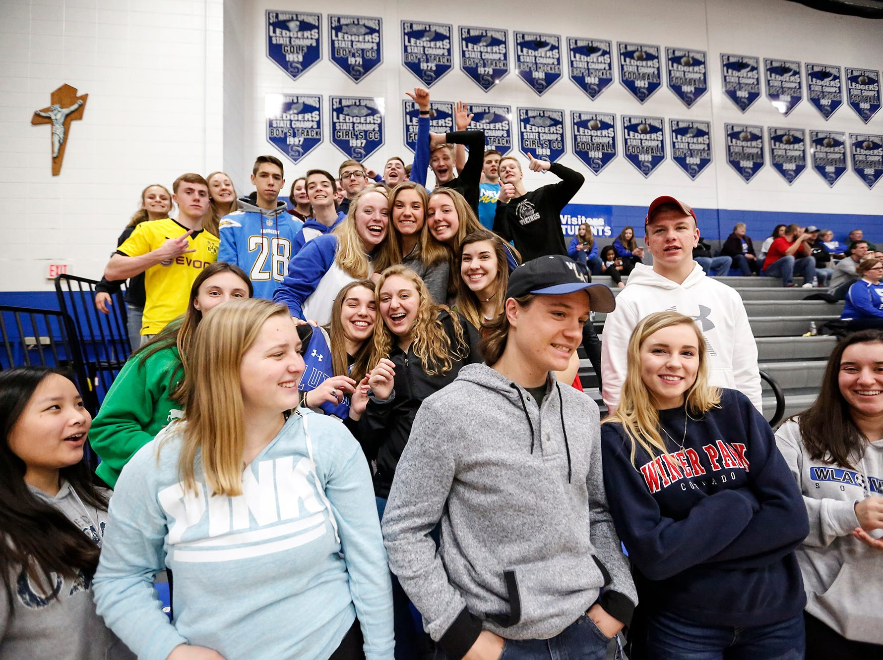 Winnebago Lutheran Academy boys basketball fans pose for a photo during a game against St Mary's Springs Academy Thursday, February 21, 2019 in Fond du Lac, Wisconsin. Winnebago Lutheran Academy won the game 95-86. Doug Raflik/USA TODAY NETWORK-Wisconsin