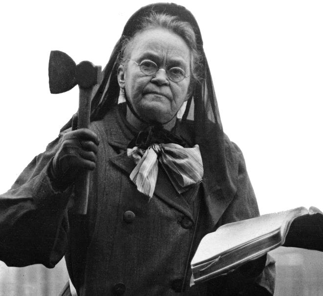 Early temperance activist Carrie Nation left her legacy in Fond du Lac on July 18, 1902. That night she is said to have smashed a whiskey bottle with a hatchet she pulled from beneath her dress, during a lecture held at E.J. Schmidt's saloon on the northwest corner on Main and Division Streets.  A sign remains today outside the business, now known as Third and One Sports Bar, 2 N. Division St., commemorating Nation's famous ax-wielding event.