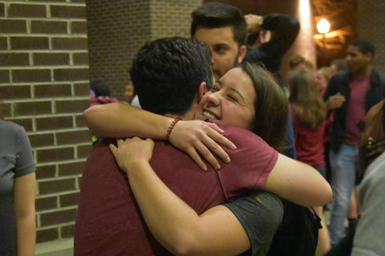 Evan Steinberg celebrates win as new student body president.