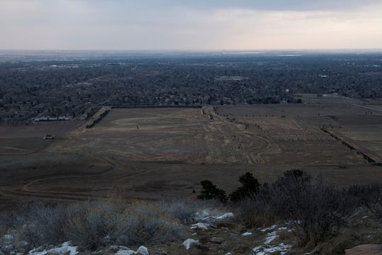 The land is bare where Hughes Stadium once was, as seen on Thursday, Feb. 21, 2019, in Fort Collins, Colo.