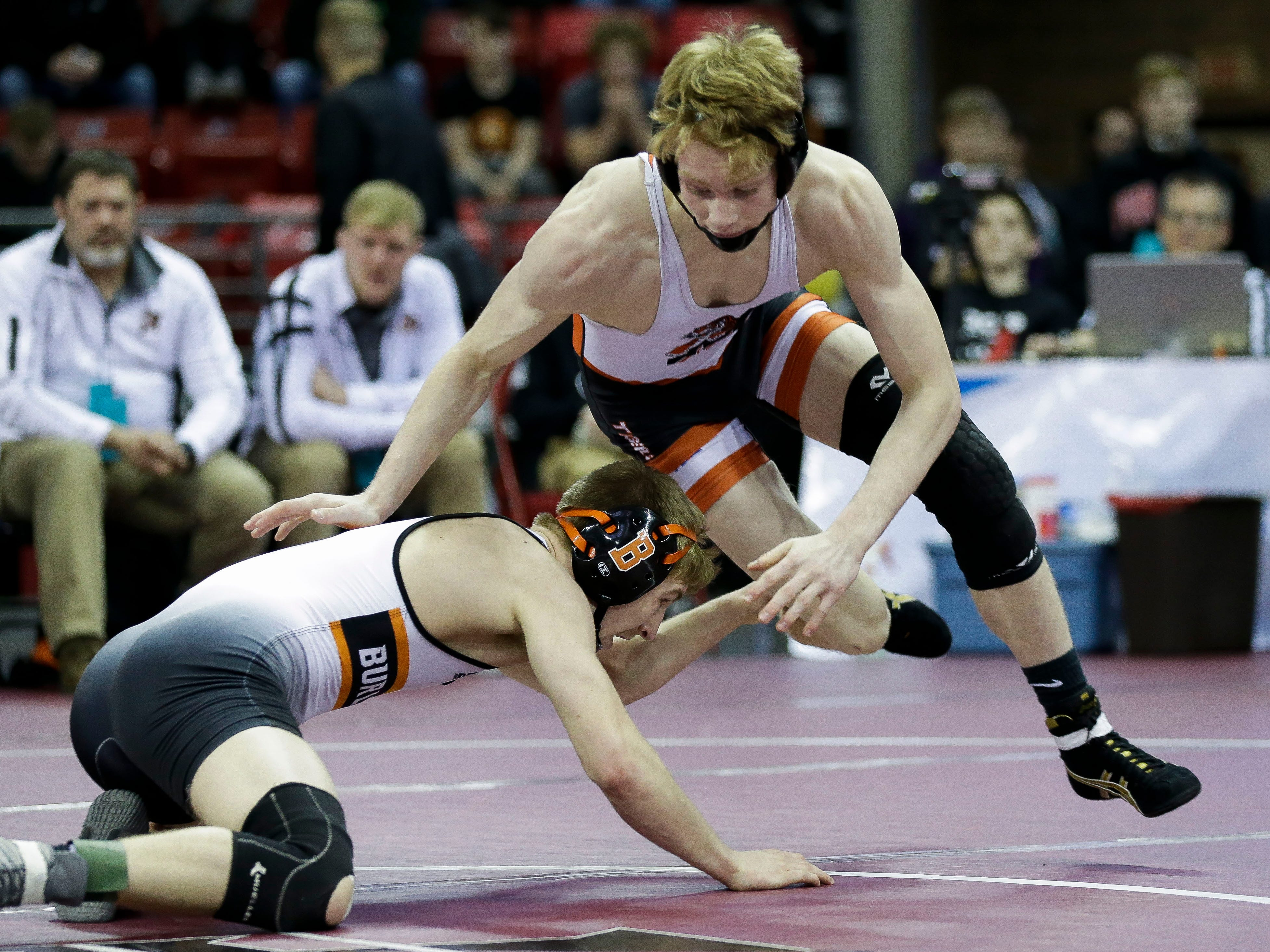 Marshfield's Ryan Dolezal wrestles against Burlington's Zach Weiler in a Division 1 132-pound quarterfinal match during the WIAA state wrestling tournament on Thursday, February 21, 2019, at the Kohl Center in Madison, Wis.