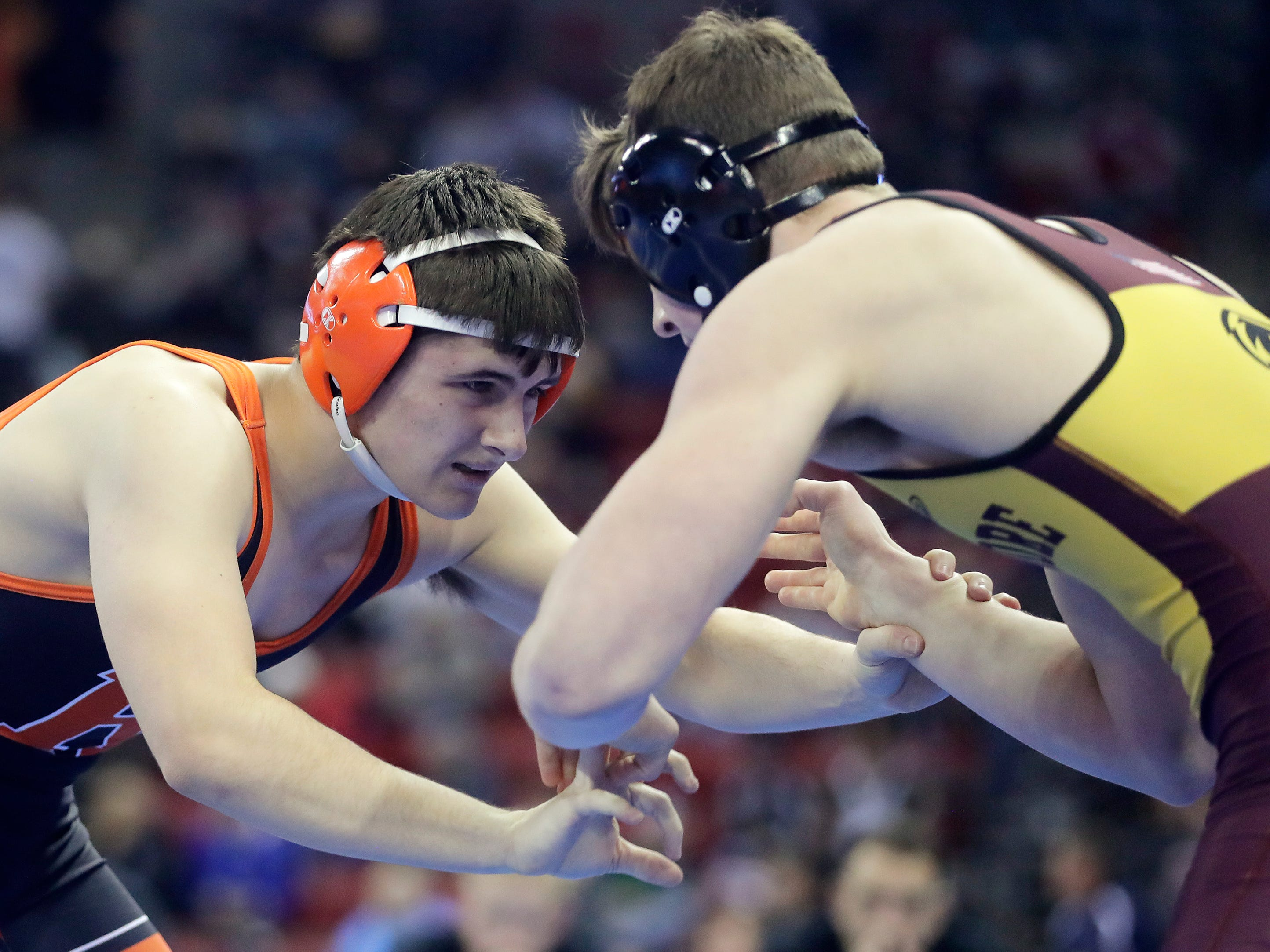 Cedar Grove-Belgium's Aaron Duenk wrestles in a Division 3 195-pound preliminary match at the WIAA state individual wrestling tournament at the Kohl Center on Thursday, February 21, 2019 in Madison, Wis.
