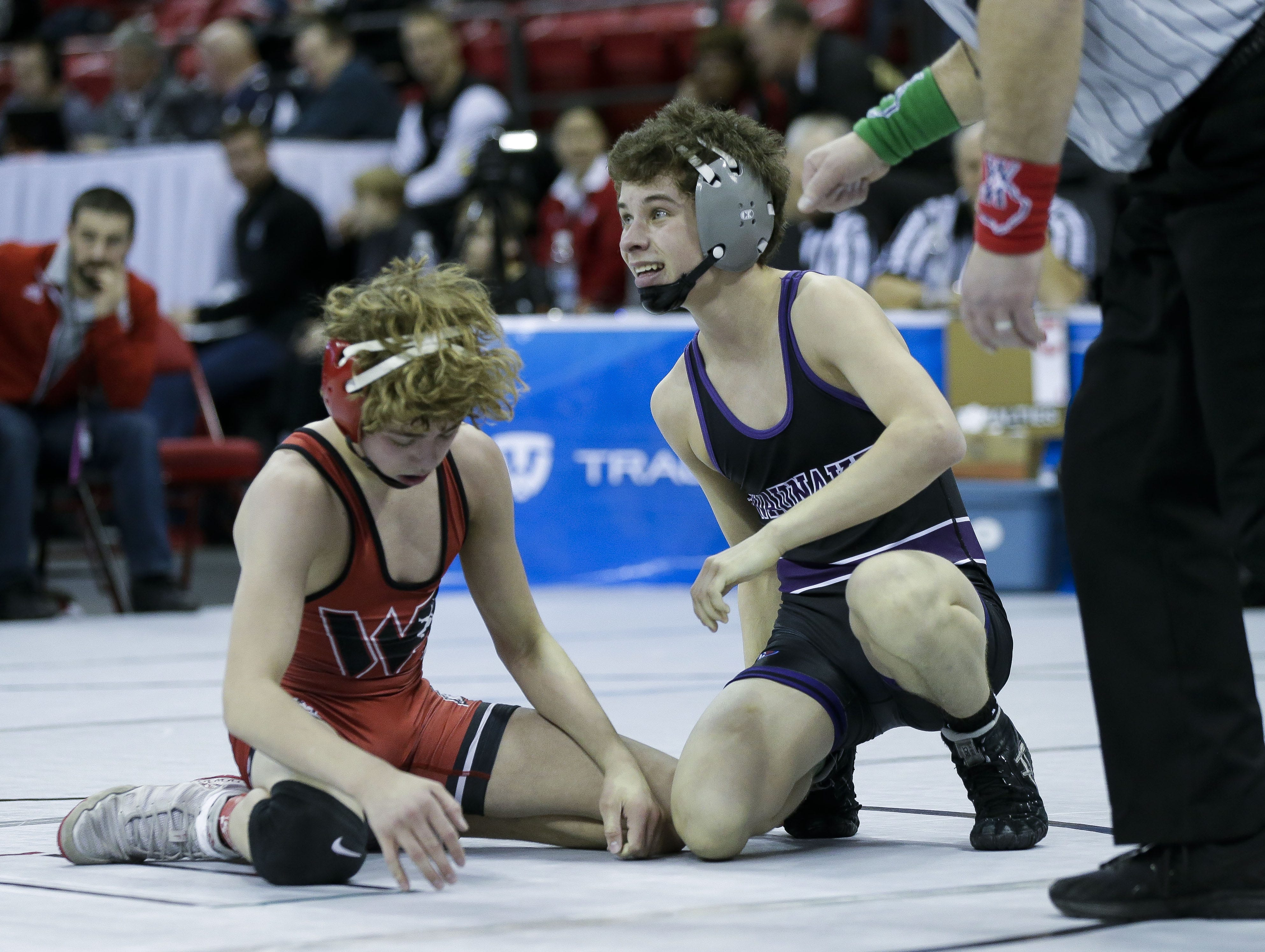 Waunakee's Kolby Heinz reacts after beating Wisconsin Rapids' Preston Spray in a Division 1 106-pound preliminary match during the WIAA state wrestling tournament on Thursday, February 21, 2019, at the Kohl Center in Madison, Wis. Tork Mason/USA TODAY NETWORK-Wisconsin