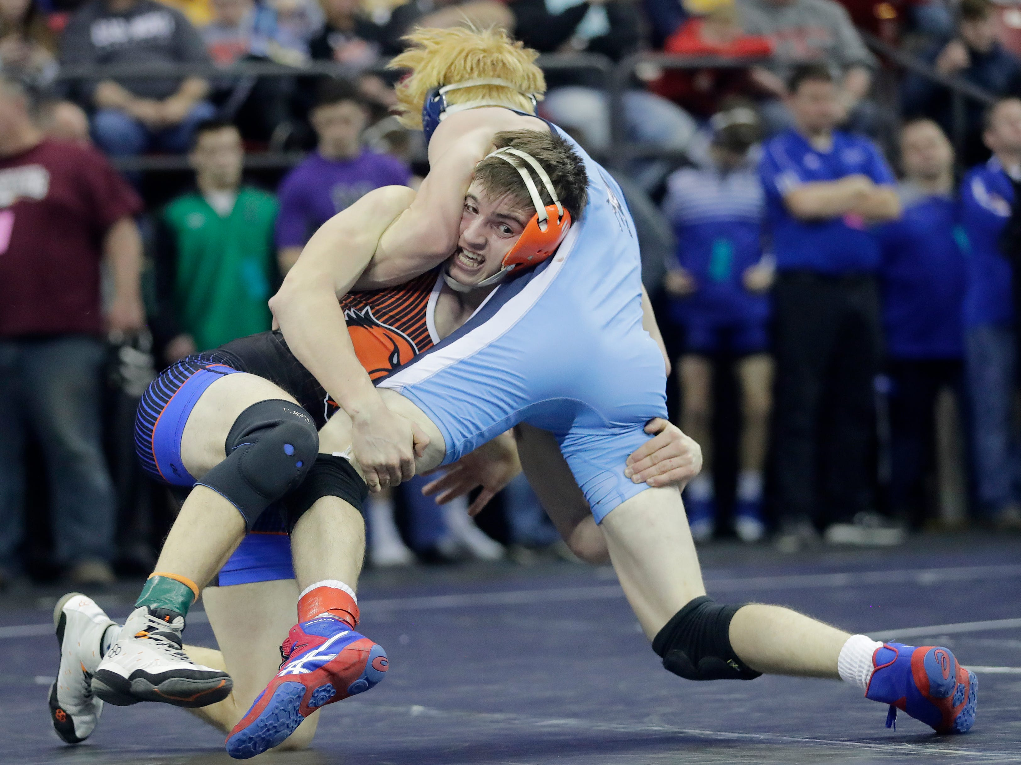 North Fon du Lac/St Mary's Springs Andrew Forsythe wrestles Little Chute's Adam Kilgas in a Division 2 145-pound preliminary match at the WIAA state individual wrestling tournament at the Kohl Center on Thursday, February 21, 2019 in Madison, Wis.