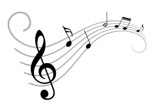 A symbol with stylized music notes.