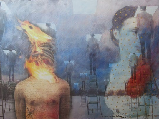 """Burning Bodies,"" mixed media by Waed Darweish of Egypt, part of the ""Mitli Mitlak (Like You, Like Me)"" exhibit at the Miller Art Museum."