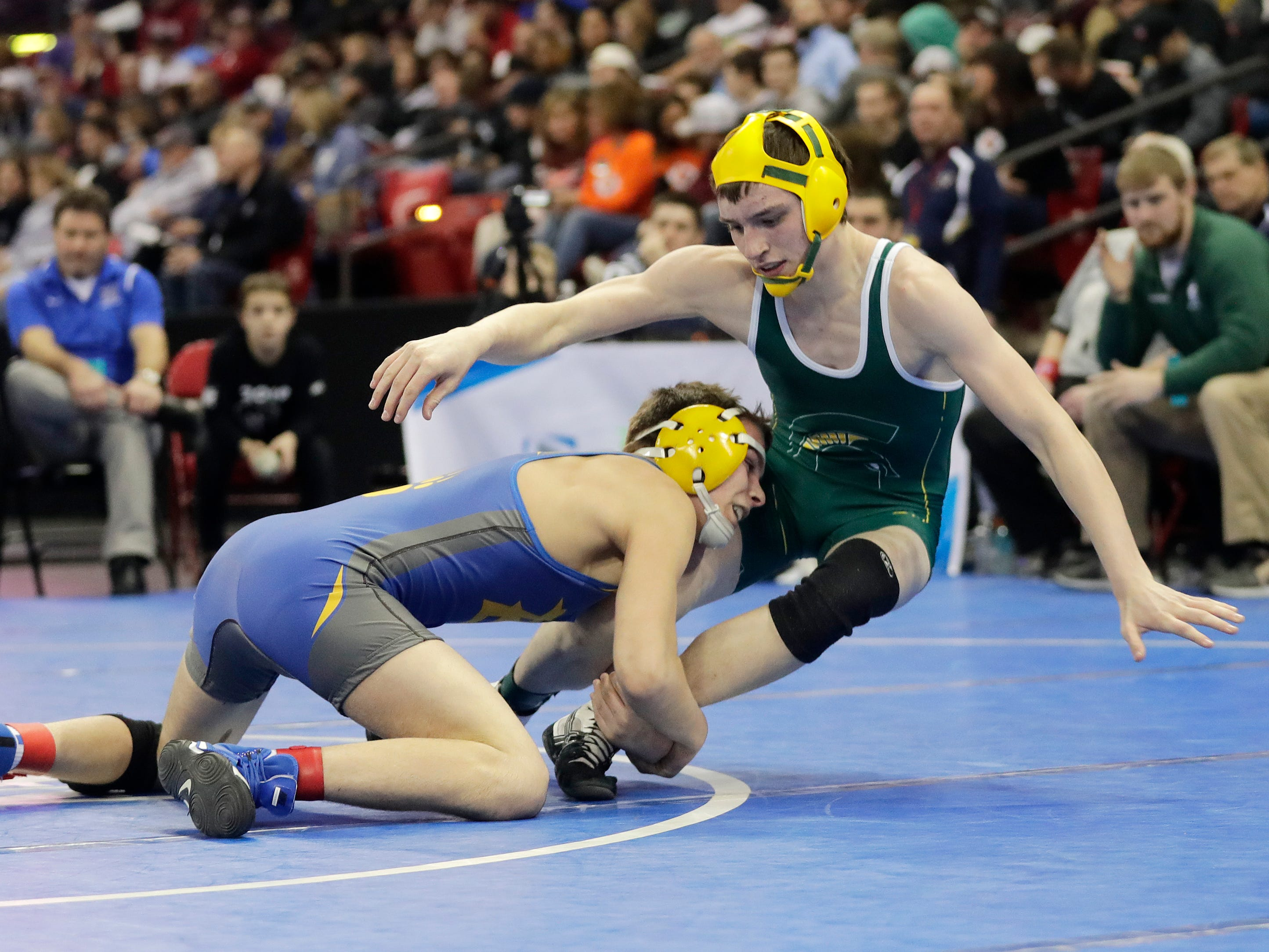 Bonduel's Max Sokolski wrestles Laconia's Colton Lovejoy in a Division 3 126-pound preliminary match at the WIAA state individual wrestling tournament at the Kohl Center on Thursday, February 21, 2019 in Madison, Wis.