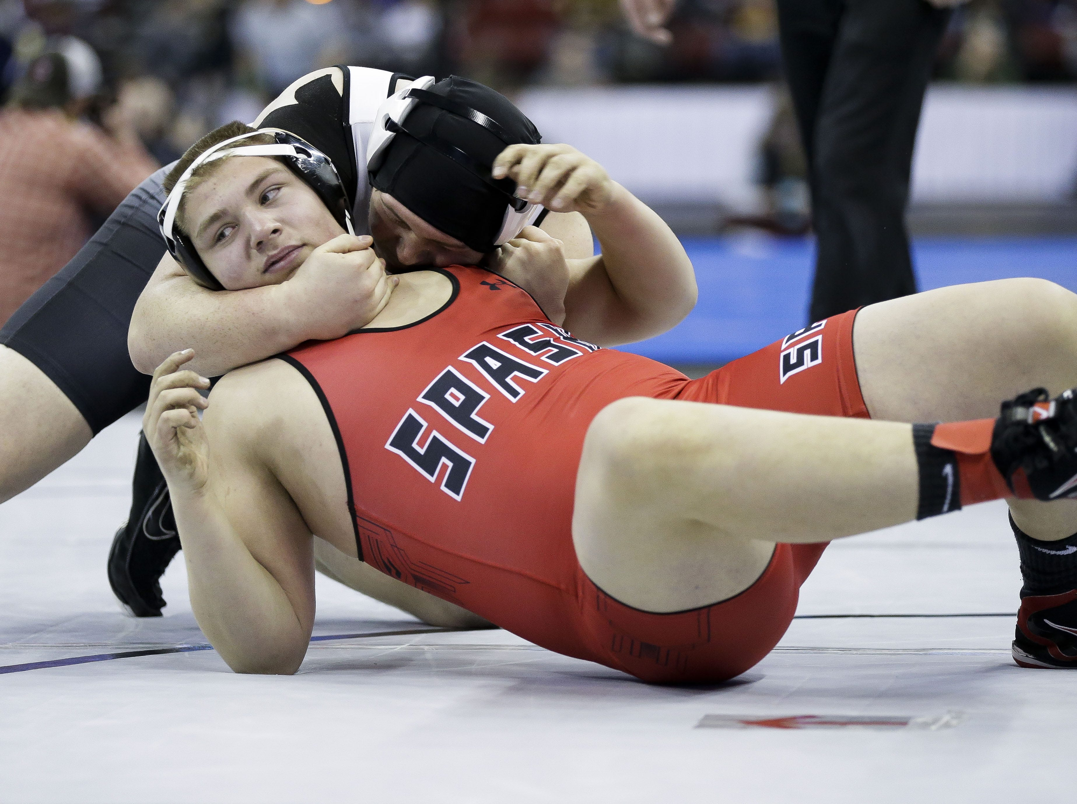 SPASH's Jaren Rohde wrestles against Burlington's Wyatt Hayes in a Division 1 220-pound preliminary match during the WIAA state wrestling tournament on Thursday, February 21, 2019, at the Kohl Center in Madison, Wis. Tork Mason/USA TODAY NETWORK-Wisconsin