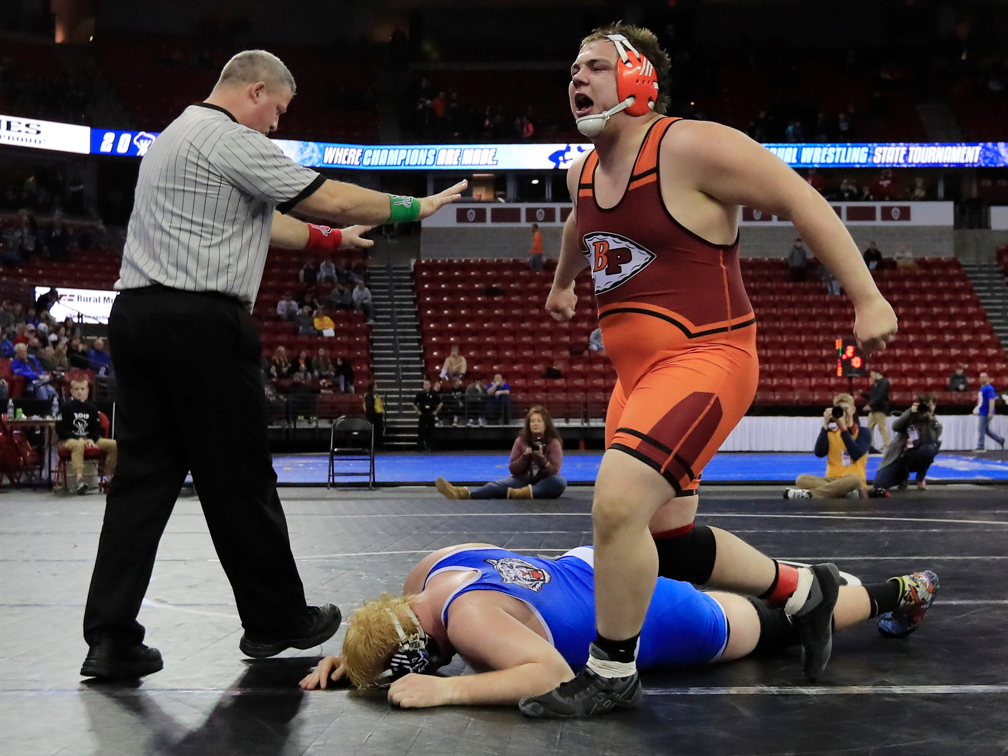 Belmont/Platteville's Michael Douglas reacts after defeating Wrightstown's Ethan Witcpalek in a Division 2 285-pound preliminary match in sudden victory at the WIAA state individual wrestling tournament at the Kohl Center on Thursday, February 21, 2019 in Madison, Wis.
