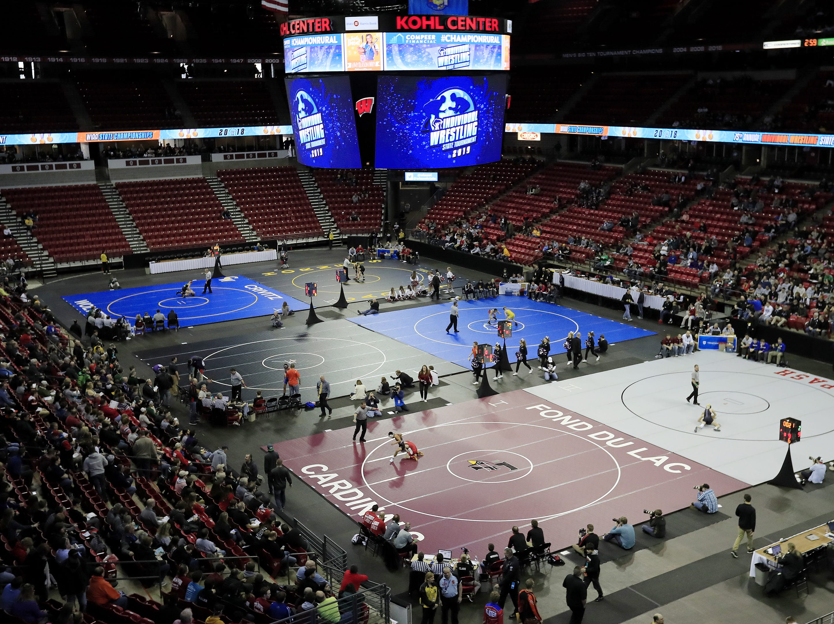 Preliminary matches are underway at the WIAA state individual wrestling tournament at the Kohl Center on Thursday, February 21, 2019 in Madison, Wis. Adam Wesley/USA TODAY NETWORK-Wisconsin