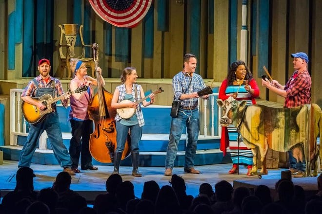 """Chase Stoeger, Molly Rhode, Eva Nimmer, Doug Clemons, Lachrisa Grandberry and Alex Campea perform in """"Dairy Heirs"""" at Northern Sky Theater.  The musical will be presented again as part of Northern Sky's 2019 Summer Season."""