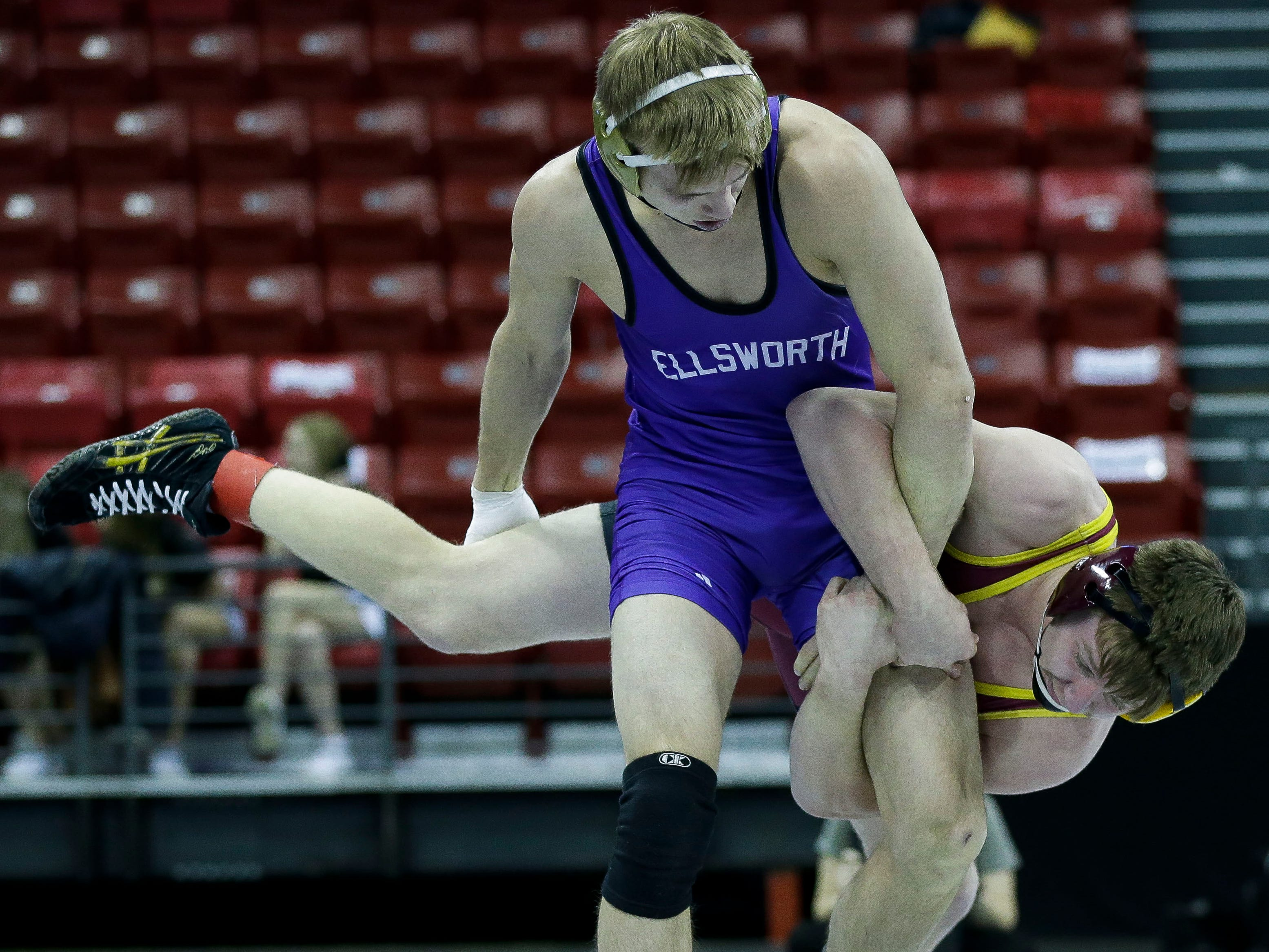 Luxemburg-Casco's Colton Worachek wrestles against Ellsworth's Cedric Kosnopfal in a Division 2 160-pound preliminary match during the WIAA state wrestling tournament on Thursday, February 21, 2019, at the Kohl Center in Madison, Wis.