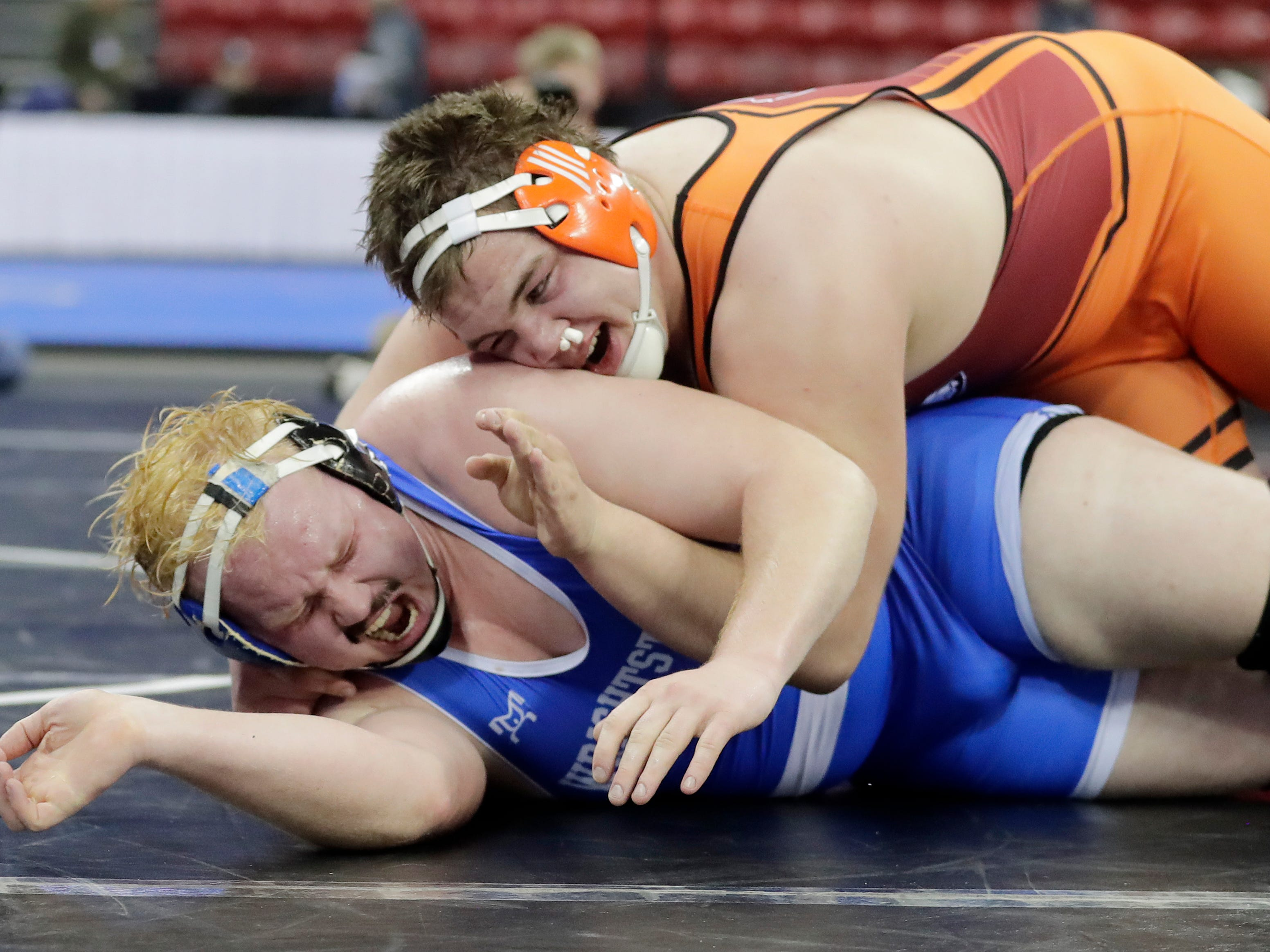 Belmont/Platteville's Dylan Schoenherr wrestles Wrightstown's Ethan Witcpalek in sudden victory of a Division 2 285-pound preliminary match at the WIAA state individual wrestling tournament at the Kohl Center on Thursday, February 21, 2019 in Madison, Wis.
