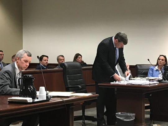 Attorney Wally Fayssoux, right, speaks on behalf of real estate developer Marcus S. McCall during a motion hearing in Greenville County Thursday. Left, attorney James Bannister represents Tracey P. Herlong, who filed a civil lawsuit in November 2018 accusing McCall of rape.