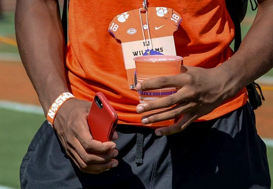 Clemson football recruit E.J. Williams wears a Clemson wristband, shirt, and recruit visitor name tag before the Furman game in Memorial Stadium in Clemson, S.C. on September 1, 2018.