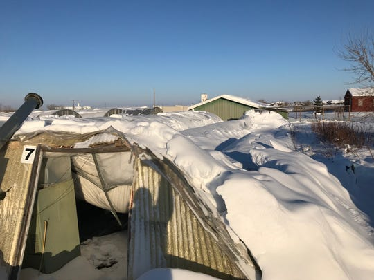"""Snow destroyed a 96-foot-by-16-foot greenhouse at Bundi Gardens sometime Wednesday evening or early Thursday. """"The snow just piled up and it collapsed the whole building,"""" owner Jim  Bundi said."""