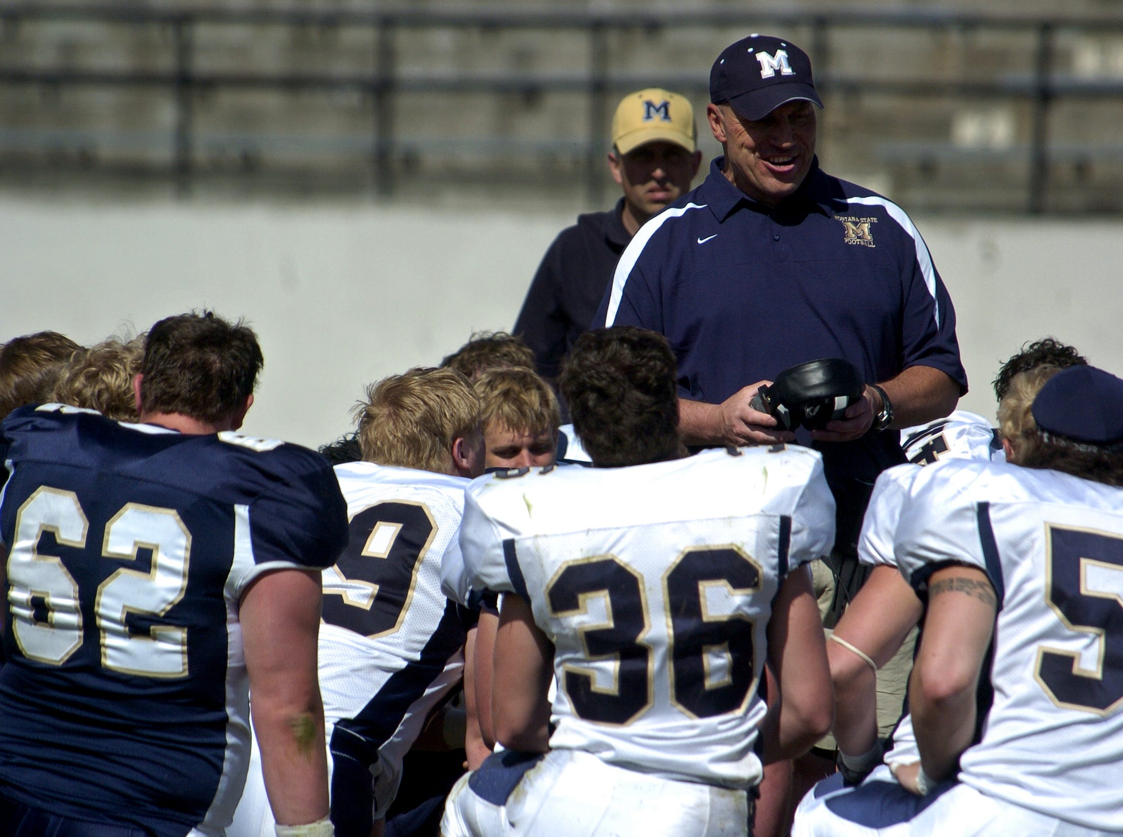 TRIBUNE PHOTO/RION SANDERSMSU head coach Mike Kramer talks to the Bobcats at the end of Saturday's Triangle Classic at Memorial Stadium.