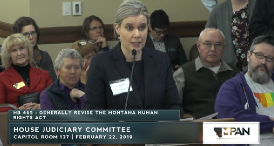 Attorney Anita Milanovich, representing the Montana Family Foundation, speaks Friday in opposition to House Bill 465.