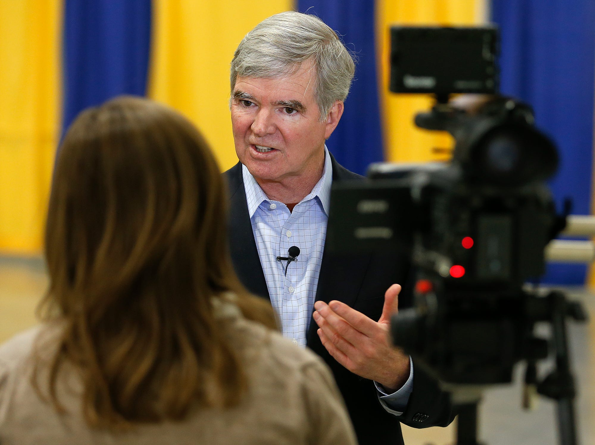 Mark Emmert, president of the NCAA, talks about Montana and the NCAA during a news conference at the Triangle Classic, a Montana State University football fundraiser Friday in the Pacific Steel and Recycling Four Seasons Arena. TRIBUNE PHOTO/LARRY BECKNER