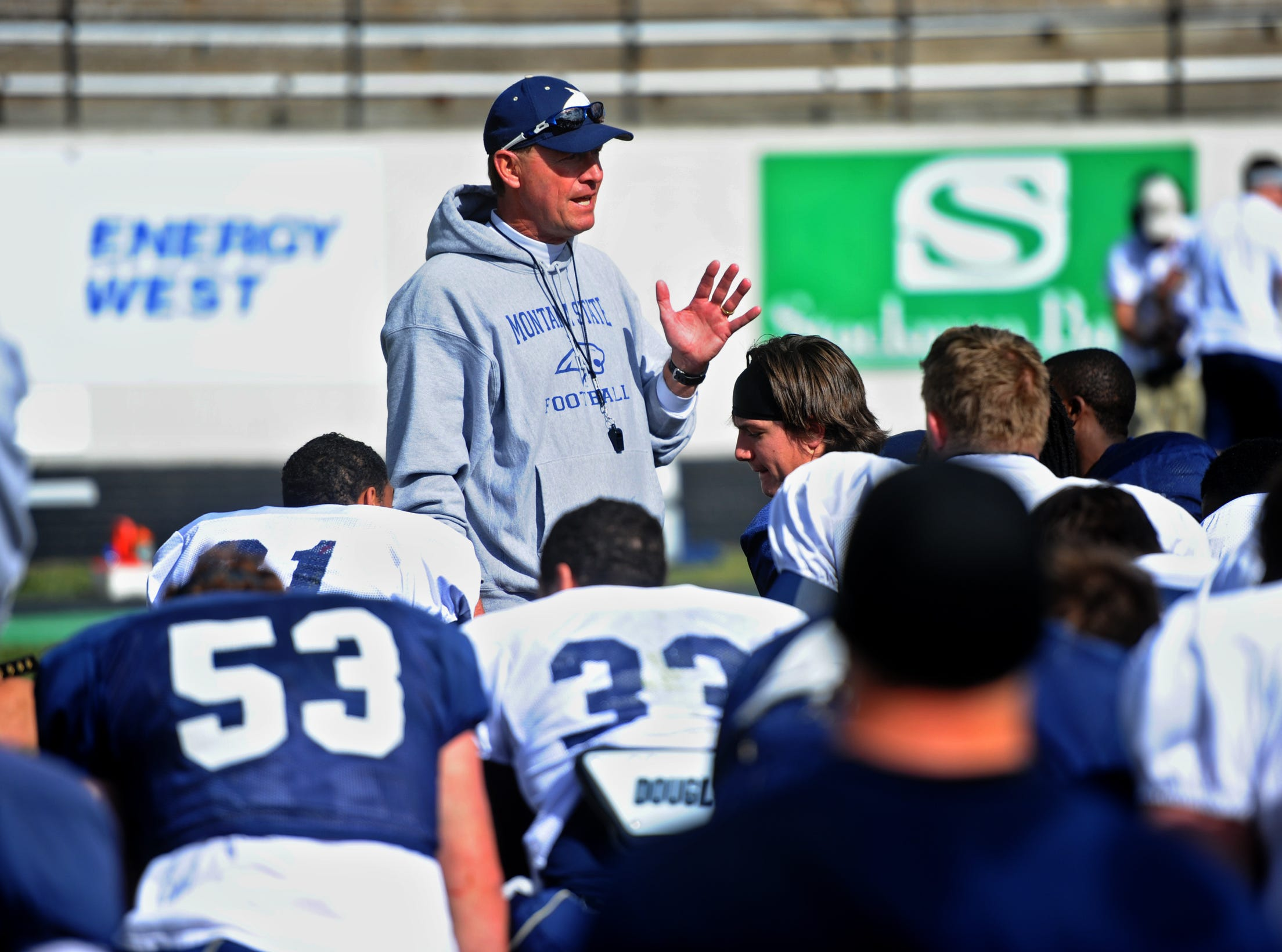 MSU head football coach Rob Ash speaks to his players at the conclusion of the Triangle Classic on Saturday.TRIBUNE PHOTO/RION SANDERS