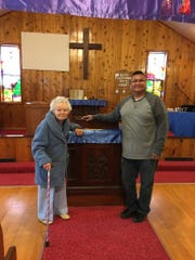 Gerry Paulus meets with Paster Hill at Blackfeet Parish in Browning while delivering gifts from Choteau United Methodist Church.