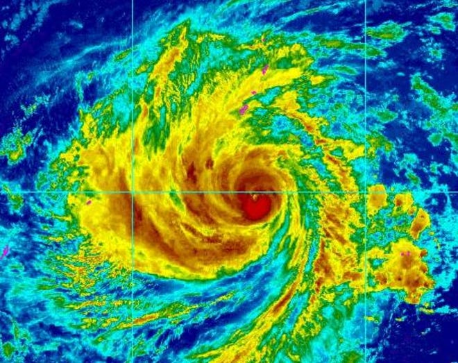 A satellite image of Wutip from Feb. 22