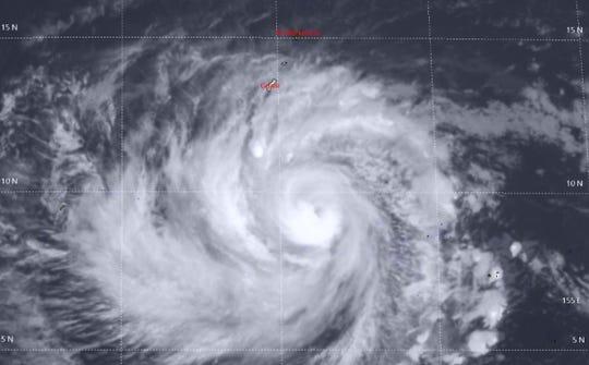 Typhoon Wutip southeast of Guam on Friday.
