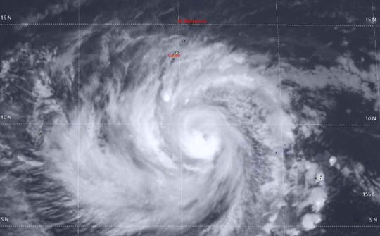 Typhoon Wutip southeast of Guam on Friday.