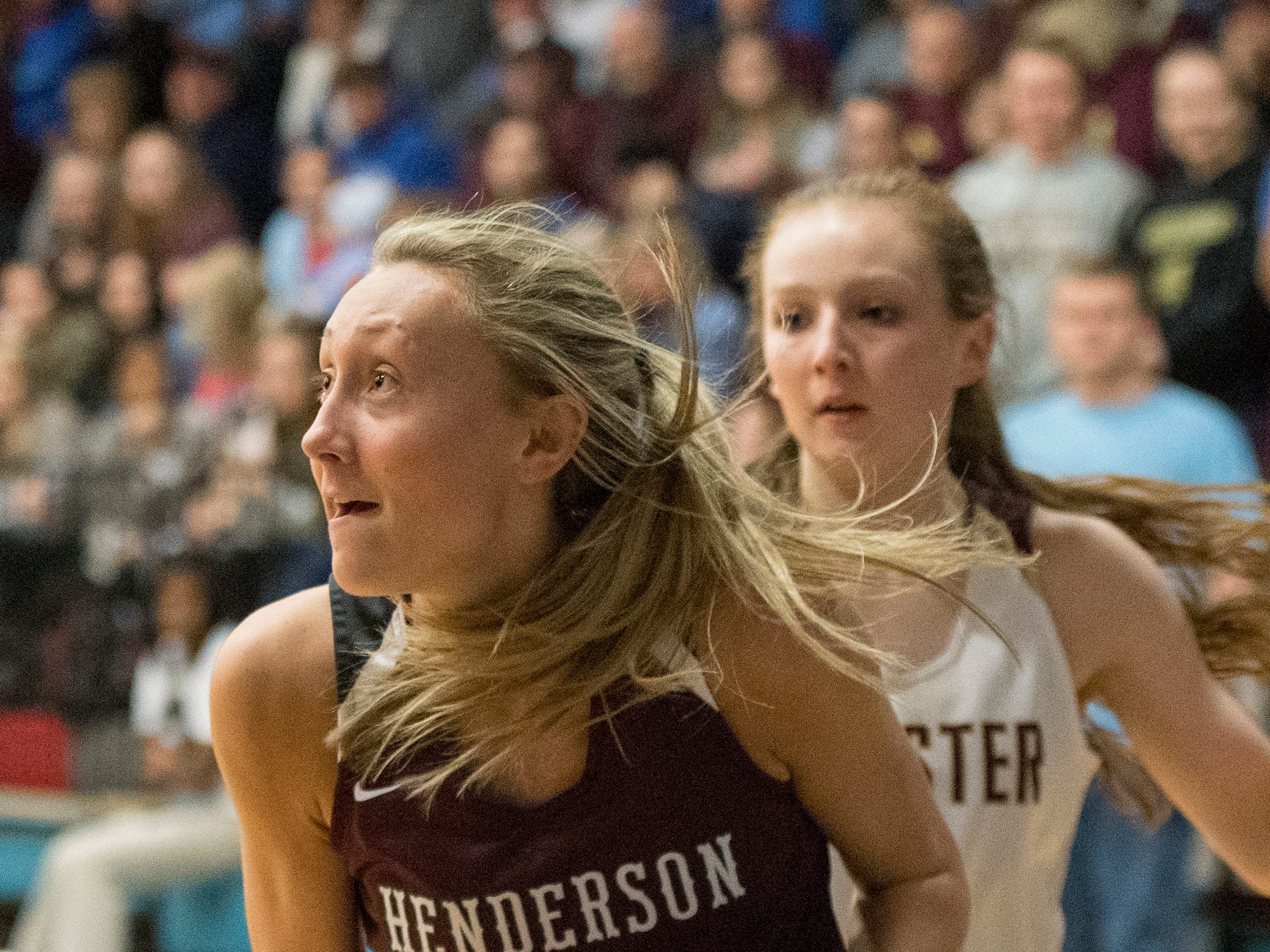 Henderson County's Alyssa Dickson (15) takes a shot during the 2019 Sixth District championship game against the Webster County Lady Trojans at Union County High School Thursday, Feb. 21, 2019.