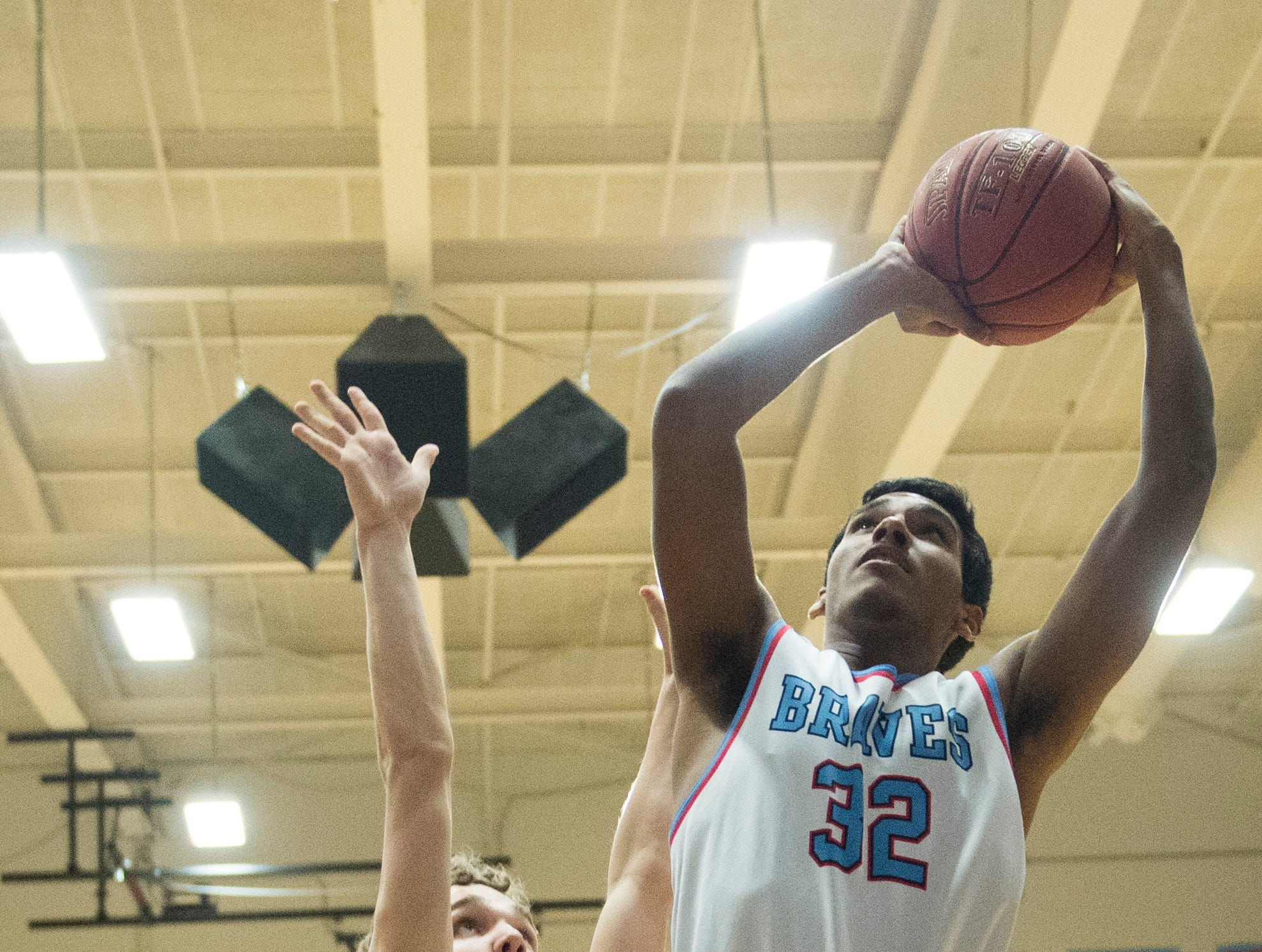 Union County's Clem Johnson (32) takes a shot during the during the 2019 Sixth District championship game against the Henderson County Colonels at Union County High School Thursday, Feb. 21, 2019.