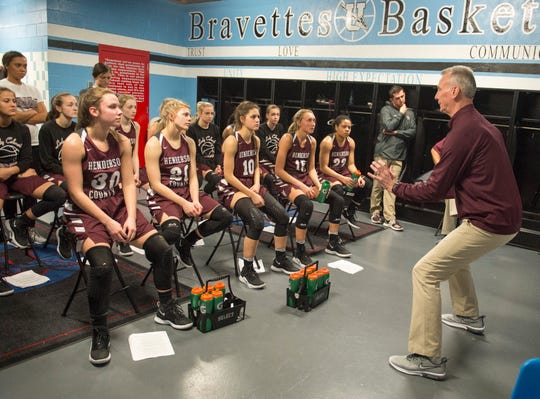 Henderson County Head Coach Jeff Haile  gives direction in the locker room at halftime during the 2019 Sixth District championship game against the Webster County Lady Trojans at Union County High School Thursday, Feb. 21, 2019.