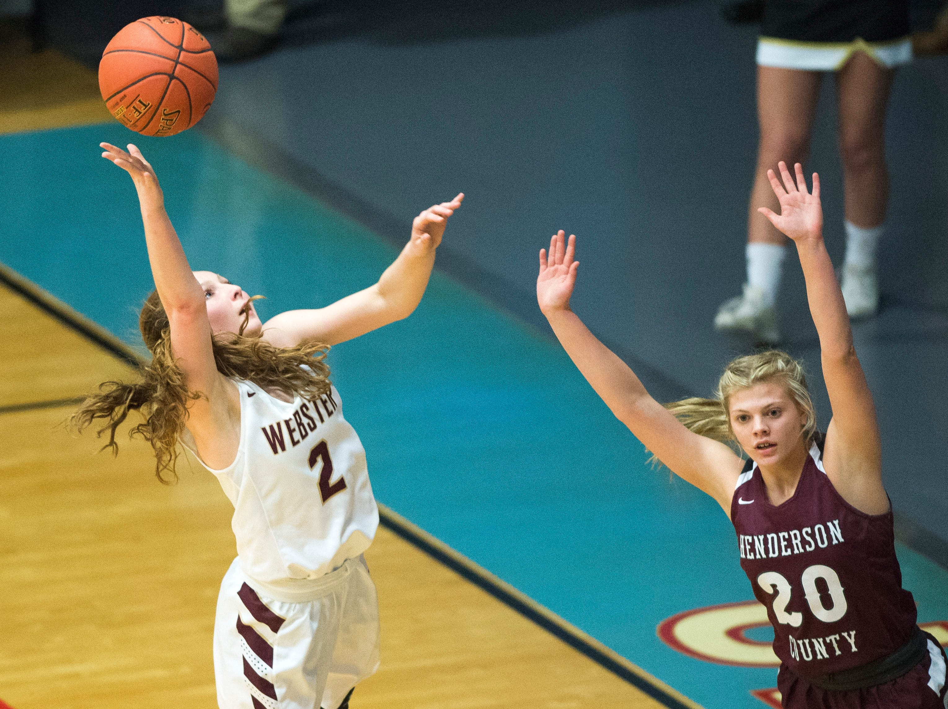 Webster County's Marissa Austin (2) takes a shot during the 2019 Sixth District championship game against the Henderson County Lady Colonels at Union County High School Thursday, Feb. 21, 2019.