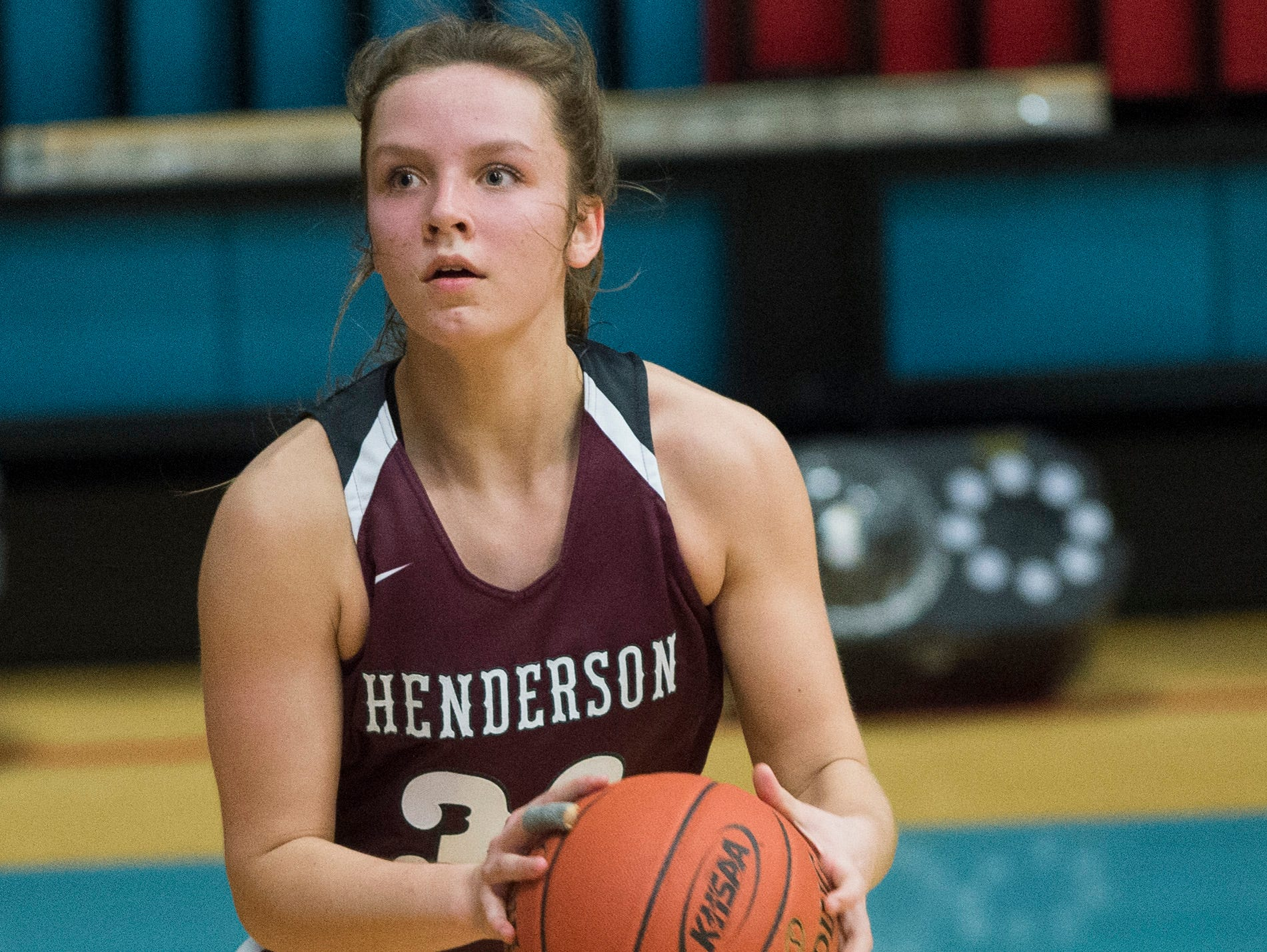 Henderson County's Emilee Hope (30) takes a shot during the 2019 Sixth District championship game against the Webster County Lady Trojans at Union County High School Thursday, Feb. 21, 2019.