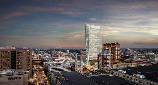A rendering of the new Signia Hilton hotel planned for Downtown Indy.