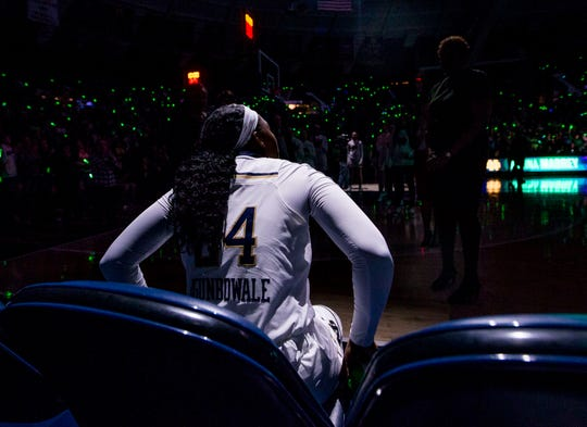 Notre Dame's Arike Ogunbowale (24) looks on before an NCAA college basketball game against Duke, Thursday, Feb. 21, 2019, in South Bend, Ind.