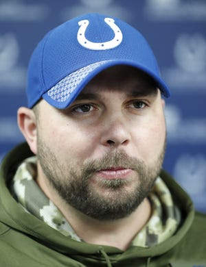 Indianapolis Colts assistant offensive line coach Klayton Adams talks to the media at the Colts Complex on Tuesday, Feb 19., 2018.