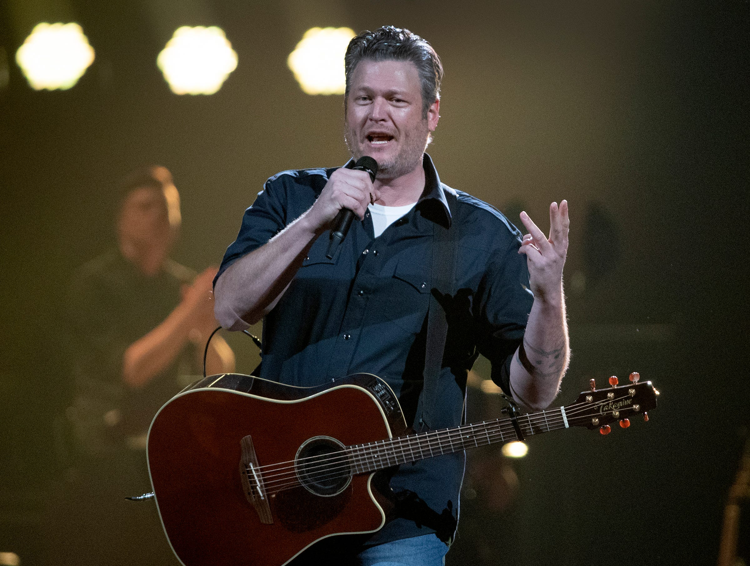 Blake Shelton performs for his many fans during his Friends and Heroes Tour concert at Bankers Life Fieldhouse on Thursday, Feb 21., 2018.