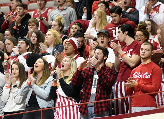 The Indiana student section cheers as IU takes the court for warm-ups prior to the start of the Indiana-Purdue game at Simon Skjodt Assembly Hall in  on Tuesday.