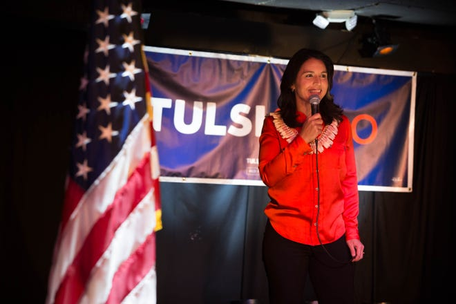 2020 Democratic presidential candidate Tulsi Gabbard addresses a crowd of supporters at the Mill in Iowa City on Thursday, February 21, 2019.