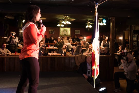 The gathered group of supporters listens to 2020 presidential candidate Tulsi Gabbard's remarks at the Mill in Iowa City on Thursday, February 21, 2019.