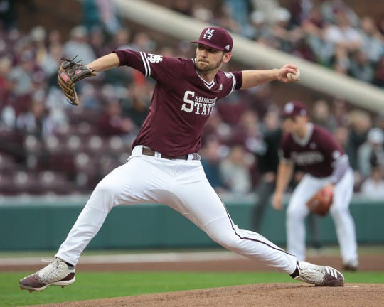 Redshirt junior Ethan Small has been dominant on the mound for Mississippi State in his first two starts this season. Photo by Keith Warren