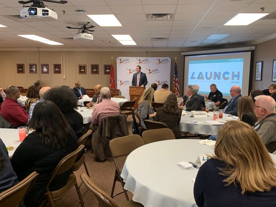 JMCSS Chief Academic Officer Jared Myracle discusses the LAUNCH program to local business and education leaders and elected officials earlier this month.
