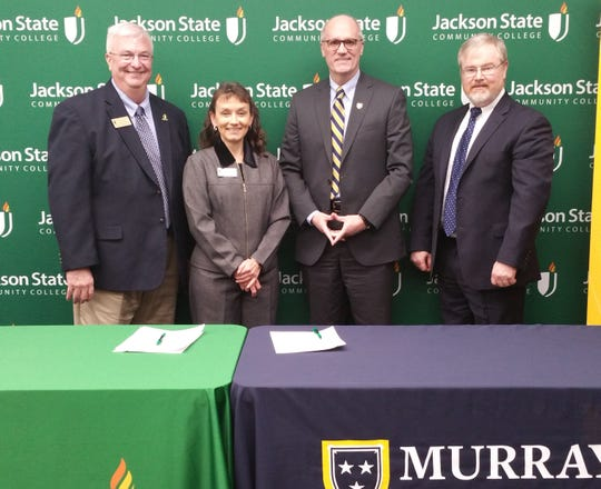 Dr. Larry Bailey, VP of Academic Affairs, JSCC; Dr. Allana Hamilton, President, JSCC; Dr. Bob Jackson, Interim President, Murray State University; and Dr. Mark Arant, Provost and VP for Academic Affairs, Murray State University take a pic before signing the MOU easing the transition for students to four-year college at Murray State.
