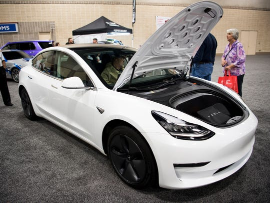 The Tesla Model 3 is on display Friday at the Knox News Auto Show at the Knoxville Convention Center.
