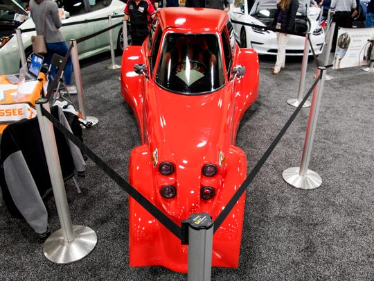 The Defiant EV3 Roadster is on display at the Knox News Auto Show, which runs through Sunday.