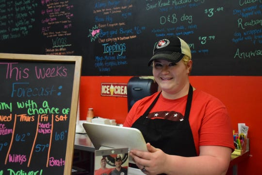 Kendra Kidd at D & B Hot Dogs Wednesday Feb. 20. She said she loves working at D&B Hot Dogs because it's like working with family.